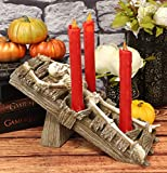 Ebros Satanic Cult Black Mass Ritual Human Sacrifice Skeleton Oracle Trio Candle Holder Figurine Halloween Ossuary Macabre Skulls Skeletons Altar Candleholder Statue