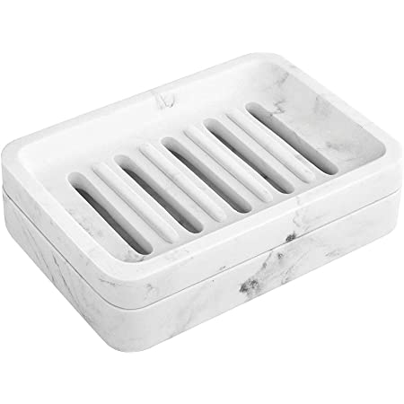 Dual-Layer Resin Bar Soap Tray Container Box Case Holder with Detachable Slotted Draining Board Small Tray for Bathroom Kitchen Shower Bathtub Sinks Counter-top Bamboo Texture MoKo Soap Dish