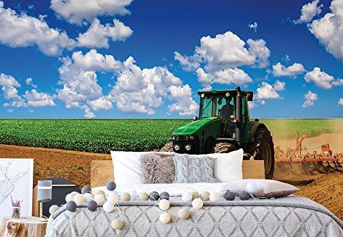 Wallsticker Warehouse Traktor Im Feld Landschaft Vlies Fototapete Fotomural - Wandbild - Tapete - 104cm x 70.5cm / 1 Teilig - Gedrückt auf 130gsm Vlies - 1909VEM - Wiesen & Landschaft