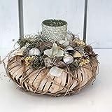 FRI-Collection Tischdeko Tischkranz mit Teelichtgläschen, sehr edel in Creme - weiß