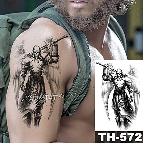 JXAA Skizze Tiger Tattoo Aufkleber Löwe Wolf wasserdicht Tattoo Krieger Krieger Flügel Körper Kunst Arm Tattoo männliche Dame 20-TH572