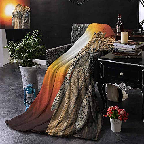 ZSUO Digital Printing Deken Illustratie van Afrika Continent Map als Animal Skin Wilderness Species Print Zachte en comfortabele slaapbank