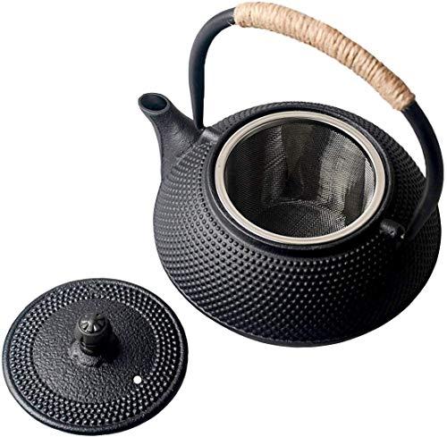 Sharemee Asiatische Teekanne aus Gusseisen Traditionelle Eisen-Kanne 600ml
