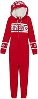 Victoria's Secret Pink Sherpa-Lined Onesie Pajama, Red/White Fair Isla, Large
