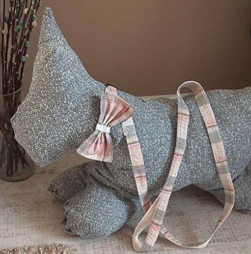 Hundehalsband und Blei mit Schleife. Benutzerdefiniert. Baumwolle unterstützt für Komfort. Pink Check. Kann personalisiert werden.
