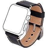 2017Nouvelle Smart Watch Band, [Version améliorée] Viodo iWatch Sangle Premium vintage Crazy Horse en cuir véritable Bracelet de rechange avec fermoir en métal inoxydable pour tous les Apple montre Sport Edition, Apple Watch 38MM, Black