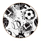 DEYYA Coasters for Drinks Football Print Leather Round Mug Cup Pad Mat for Protect Furniture, Heat Resistant, Kitchen Bar Decor, Set of 6