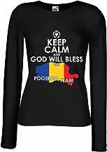 N4515M Female Long Sleeves T-Shirt God Will Bless The Romanian Football Team