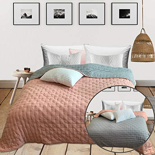 HOMELEVEL Tagesdecke Bett & Sofaüberwurf 220cm x 200cm Bettüberwurf Sofa Tages Decken Betthusse XXL Decke Überwurf Altrose/Grau Punktsteppung