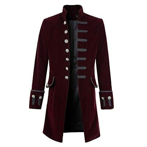 6c1dcf7a FUNOC Men's Steampunk Vintage Tailcoat Jacket Gothic Victorian Coat Tuxedo  Uniform Halloween Costume