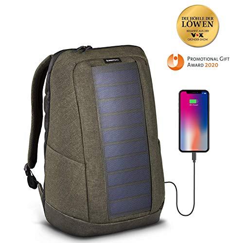 SunnyBAG® Iconic Solar-Rucksack mit integriertem 7 Watt Solarpanel - Smartphone, Tablet, Smartwatch, Powerbank unterwegs mit Solarenergie Laden - mit Laptopfach und 20l Volumen - Olive-Brown