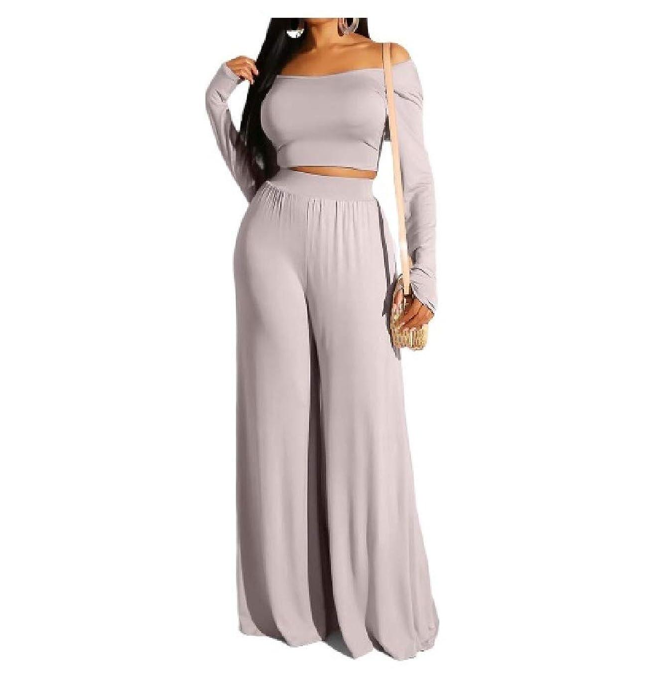 の間に商業の規範Tootess Womens Long-Sleeve Fashion Crop Top and Wide Leg Pants 2 Piece Set