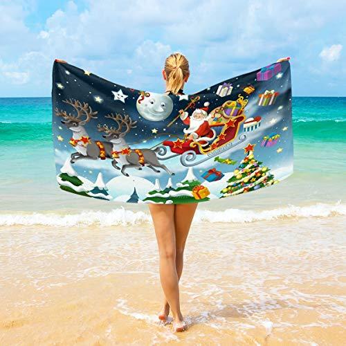 Ahomy Microfiber Beach Towel Large 94x188 cm Christmas Santa Claus Deer Starry Sky Bath Travel Towels Soft Quick Dry For Home, Beach & Swimming