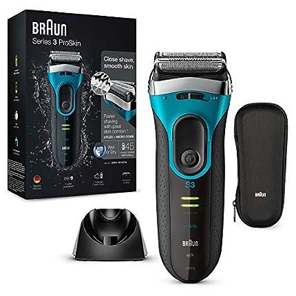 Braun Series3 ProSkin 3080 s - Afeitadora eléctrica hombre, afeitadora barba inalámbrica y recargable, Wet&Dry, máquina de afeitar, recortadora de precisión extraíble, negro/azul + base de carga