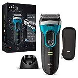 Braun Series 3 ProSkin 3080 s - Afeitadora eléctrica hombre, afeitadora barba inalámbrica y recargable, Wet&Dry, máquina de afeitar, recortadora de precisión extraíble, negro/azul + base de carga