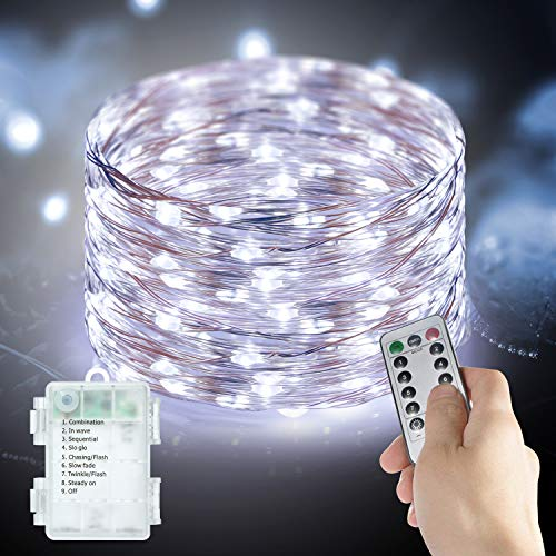 Fairy Lights Battery Powered 33Ft 100 LED String Lights with Remote 8 Modes Outdoor Indoor IP65 Waterproof Festival Lighting for Bedroom Garden Patio Christmas Tree Halloween Xmas Décor Ulanox, 2 Pack