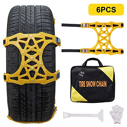 XUXIAKE Universal Snow Chains for Cars - Emergency Anti Slip Tire Straps, Car Snow Chain for Trucks Minivan Pickup SUV/ATV/UTV, 6 Pack