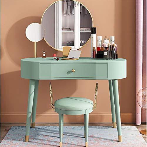 Best Prices! DERTHWER Vanity Table Set, Makeup Vanity Set with Flip Top Mirror Cushioned Stool Makeu...