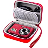 Carrying & Protective Case for Digital Camera, AbergBest 21 Mega Pixels 2.7' LCD Rechargeable HD/ Kodak Pixpro/ Canon PowerShot ELPH 180/190 / Sony DSCW800 / DSCW830 Cameras for Travel - Red