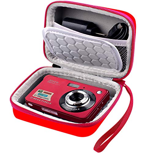 """Carrying & Protective Case for Digital Camera, AbergBest 21 Mega Pixels 2.7"""" LCD Rechargeable HD/ Kodak Pixpro/ Canon PowerShot ELPH 180/190 / Sony DSCW800 / DSCW830 Cameras for Travel - Red"""