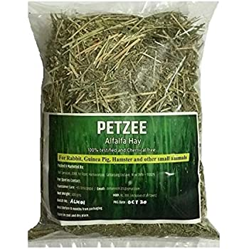 Petzee Alfalfa Hay, Food for Rabbits, Guinea Pig, Hamsters and Other Small Animals (400 GMS)