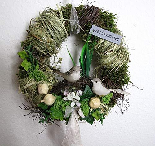 Small-Preis Türkranz rund mit Vogel Willkommen Natur ø 28 cm - Frühling - Sommer - Herbst - Willkommensgruß 968