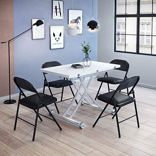 Beliwin - Mesa de centro elevable, altura ajustable, mesa de comedor, color blanco para oficina en el hogar (mesa blanca + 4 sillas negras)