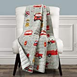 Make A Wish Fire Truck Red & Gray Reversible Print Throw Blanket