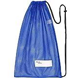 Sacca in rete con chiusura a cordoncino, per sport, spiaggia o da viaggio - blu - 18 inch wide and 31 inch Tall