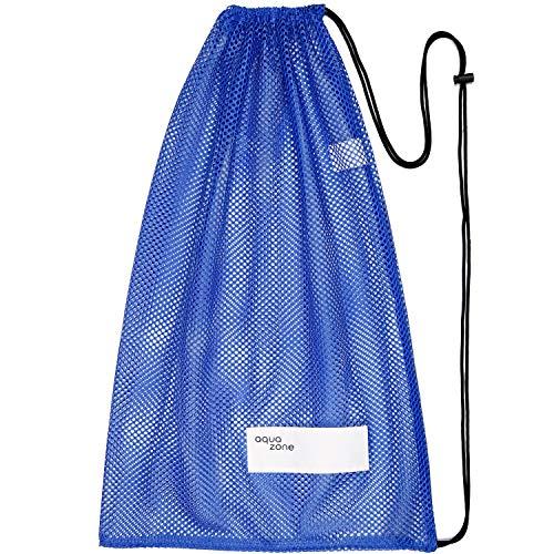 aqua zone Sporttasche mit Kordelzug für Schwimmen, Strand, Tauchen, Reisen, Gymnastikball - Blau -