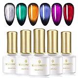 BORN PRETTY Esmalte de uñas magnético Gel glamoroso para ojos de gato Esmalte de uñas magnético Barniz de gemas UV 5 colores y 1 color base de plata