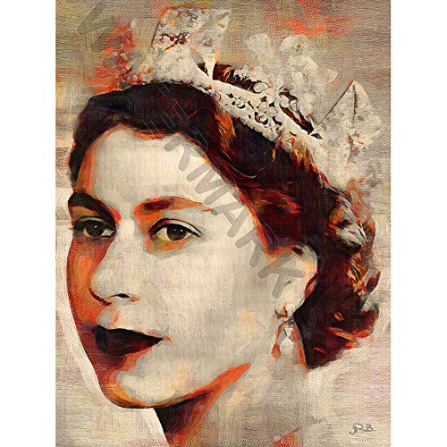 JR Bouvier Queen Elizabeth II Large Art Print Poster 18x24 inch Königin Große Kunst