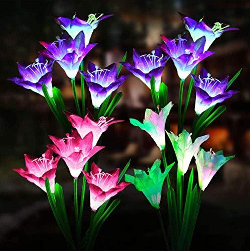 VIVICL Lampes Solaires De Jardin Extérieures 16 Plus Grandes Fleurs Lys Imperméables à l'eau 7 Couleurs Changeantes pour Les Lumières Décoration Voie Jardin De Patio Solaire (4 Pack)
