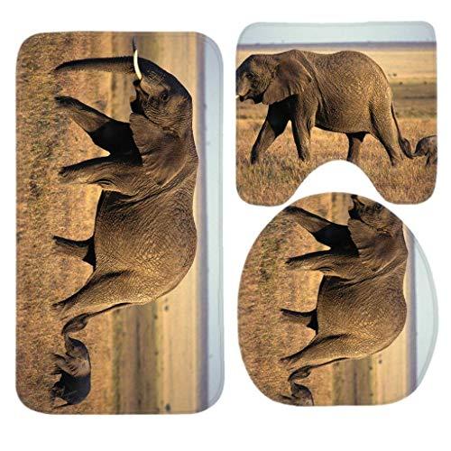 Trista Bauer Ensemble de Tapis de Bain Elephant Baby Elephant, 3 pièces