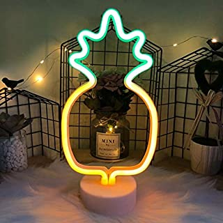 Hopolon Pineappl Neon Signs, LED Neon Light Sign with Holder Base for Party Supplies Girls Room Decoration Accessory for Luau Summer Party Table Decoration Children Kids Gifts (Pineapple with Holder)