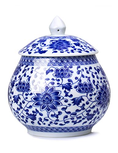 Dahlia Teedose / Teedose aus Porzellan, Vintage-Blumenmuster, Blau / Weiß