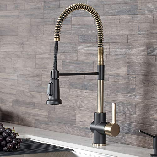 Kraus KPF-1690BGMB Britt Pre-Rinse/Commercial Kitchen Faucet with Dual Function Sprayhead in all-Brite Finish, Brushed Gold/Matte Black