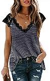 Yutdeng Bluas de Mujer Camisa Algodón Blusa Elegante Manga Corta Top V-Neck Camisetas Suelta Casual Verano Lace T Shirt Short Sleeve Shirts Women