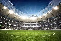 新しい2.1x1.5mポリエステル背景スポーツ背景スタジアムサッカーサッカーフィールド草フィールド写真の背景キッズパーティー写真スタジオの小道具
