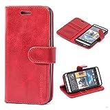 Mulbess Funda HTC One M7 [Libro Caso Cubierta] [Vintage de Billetera Cuero de la PU] con Tapa Magnética Carcasa para HTC One M7 Case, Vino Rojo