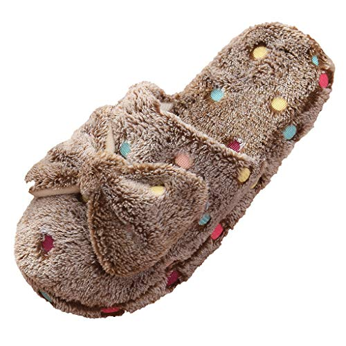 Nuevo Zapatillas con Arco de Algodón Suave de Mujer Invierno TOPKEAL Lindo Zapatillas con Lunares Cálido para Jovencita