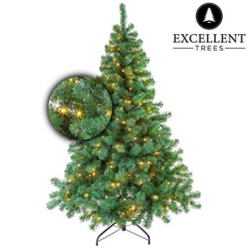 Excellent Trees Künstlicher Weihnachtsbaum Tannenbaum Christbaum Grün LED Stavanger Green 180 cm mit Beleuchtung, 350 Lämpchen Beleuchtet