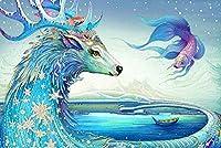 ジグソーパズル6000ピース子供大人の大きなジグソーパズルおもちゃギフト創造的な減圧DIYチャレンジアート画像-カラフルな鹿と魚