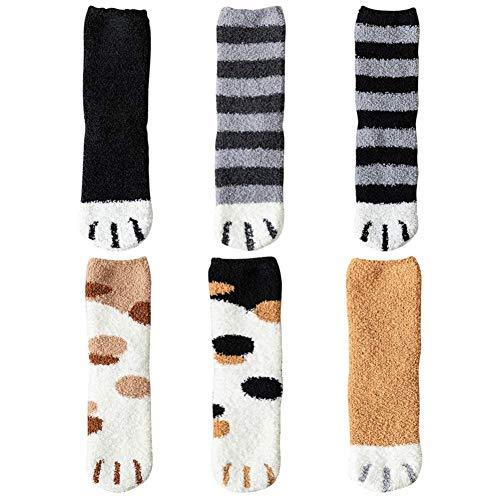 Hikaka Frauen Mädchen Mode Weichen Boden Socken Nette Plüsch Katze Klaue Design Korallen Fleece Verdickung Warmes Zuhause Schlaf Socken (Sechs Farben gemischt)