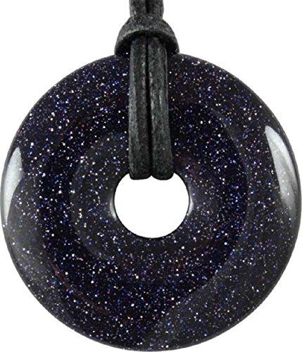 Blaufluss Donut als Geschenkset mit Lederband, 30 mm - Edelstein Anhänger rund
