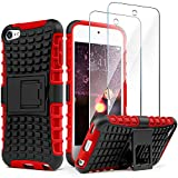 iPod Touch 7th Generation Case Build-in Kickstand with 2 Screen Protectors, IDweel Anti-Scratch &Fingerprint Shock Proof Non Slip Hybrid Rugged Hard PC Case for iPod Touch 7/6/ 5, Red