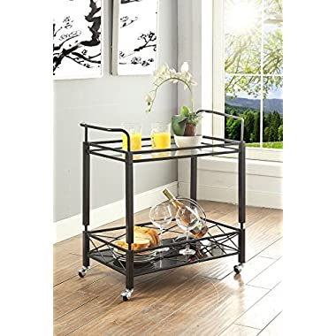 Black Finish Metal Tempered Glass 2-tier Modern Serving Wine Tea Dining Kitchen Cart