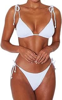 fa3507ae4310b Womens Sexy Bikinis Bathing Suits Triangle Halter Padded Two Piece Swimsuit  Bikini Set,White Leopard