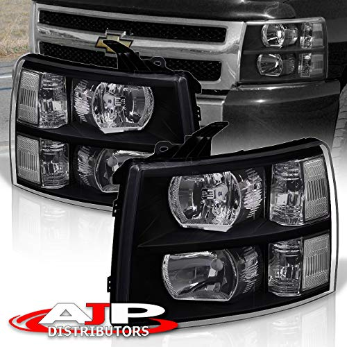 AJP Distributors For Silverado 1500 2500 3500 HD Headlights Lights Lamps 2007 2008 2009 2010 2011 2012 2013 2014 07 08 09 10 11 12 13 14 (Black Housing Clear Lens Clear Reflector)