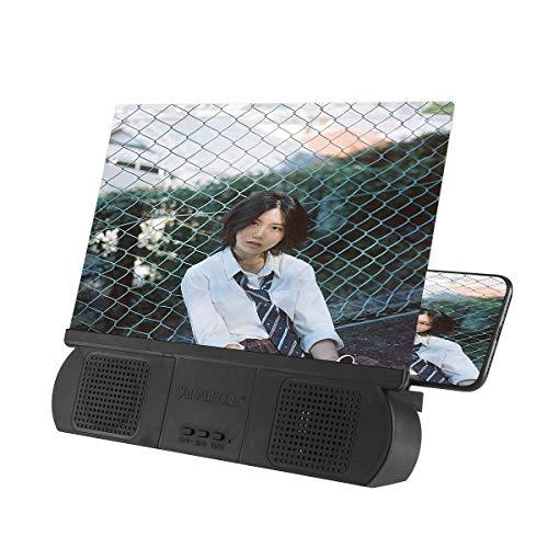 Volwco - Lupa de Pantalla de 10 Pulgadas con Altavoz, Lupa de Pantalla de teléfono 3D HD, Amplificador de películas, proyector de teléfono con Soporte Plegable para Todos los Smartphones